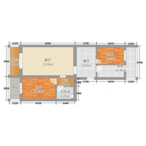 密西花园小区2室2厅1卫1厨95.00㎡户型图