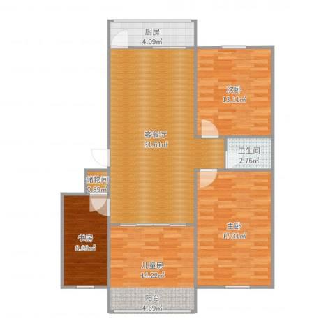 漪汾苑4室2厅1卫1厨115.00㎡户型图