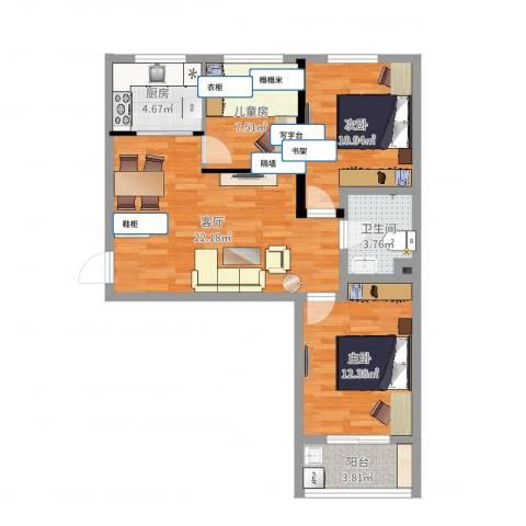康和苑3室1厅1卫1厨82.00㎡户型图