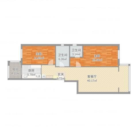 天通苑西三区2室2厅2卫1厨116.00㎡户型图