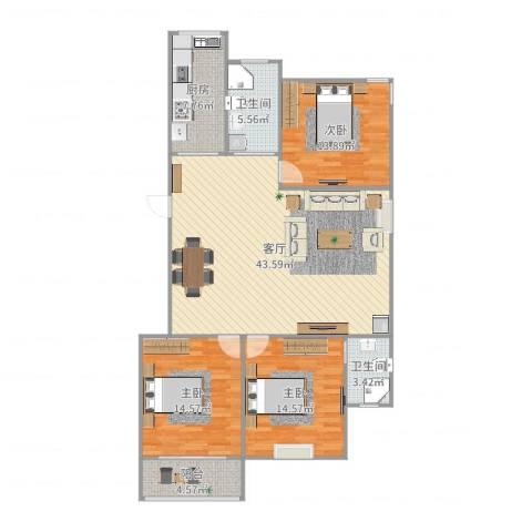 裕顺雅苑3室1厅2卫1厨123.00㎡户型图