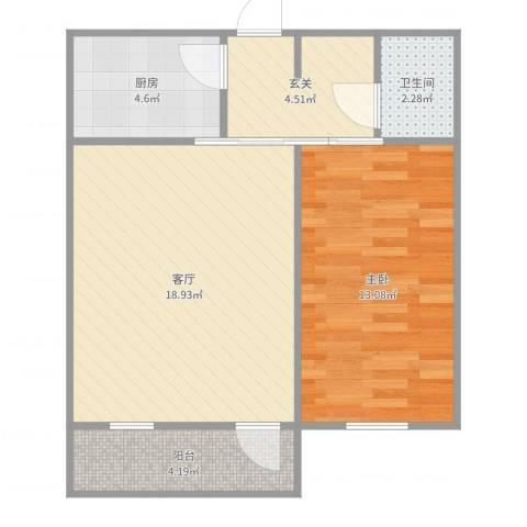 东大桥路1室1厅1卫1厨59.00㎡户型图