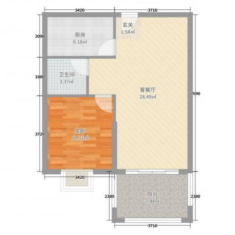 海南凯文・清水湾度假公馆1室2厅1卫1厨71.00㎡户型图