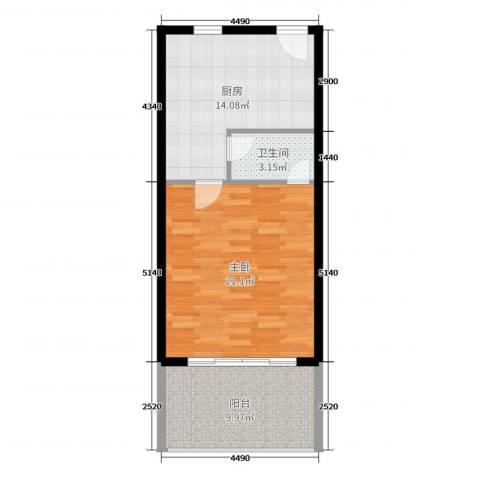 浙大网新・蝶恋海1室0厅1卫1厨59.00㎡户型图