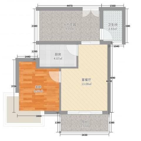 弗拉明戈屿海1室2厅1卫1厨55.00㎡户型图