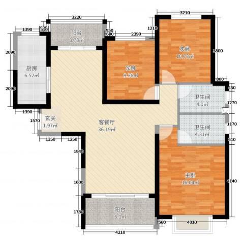 西安・恒大御景3室2厅2卫1厨113.00㎡户型图