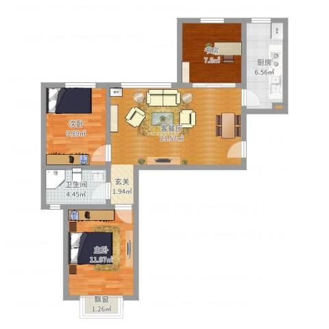 蓝光星华海悦城3室2厅1卫1厨85.00㎡户型图