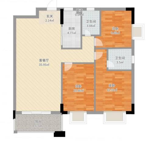 金碧华庭3室2厅2卫1厨84.89㎡户型图