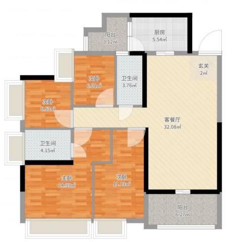 山水华府别墅4室2厅2卫1厨116.00㎡户型图