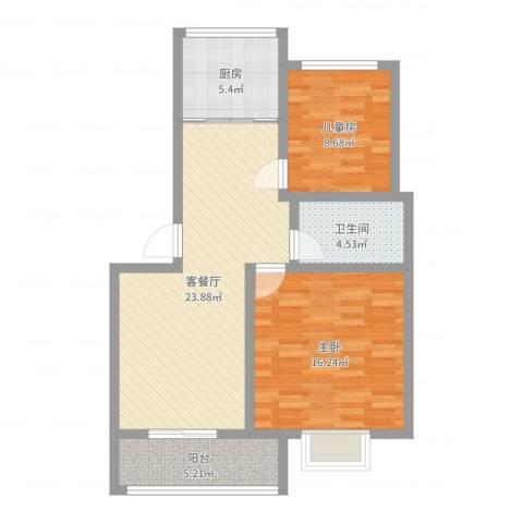 祥和至尊2室2厅1卫1厨80.00㎡户型图