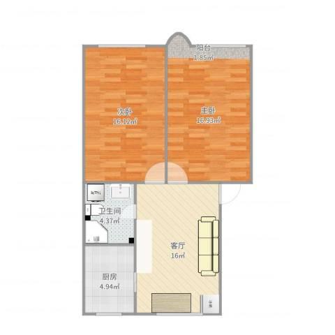 杨家镇2室1厅1卫1厨73.00㎡户型图