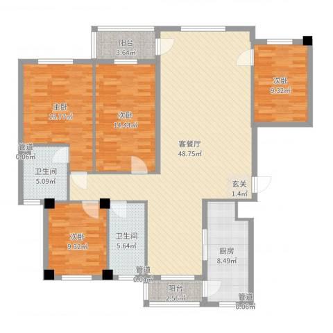 海创半山壹号4室2厅2卫1厨151.00㎡户型图