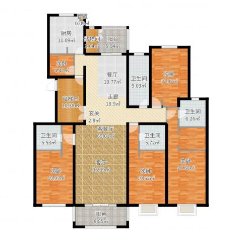 宏润花园5室2厅4卫1厨280.00㎡户型图