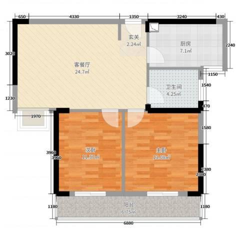 爱佳7982室2厅1卫1厨84.00㎡户型图