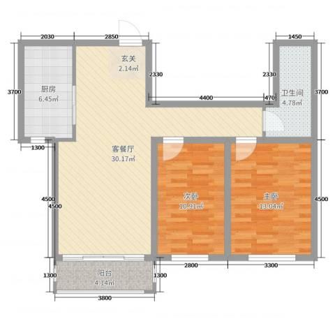 领航国际花园2室2厅1卫1厨101.00㎡户型图