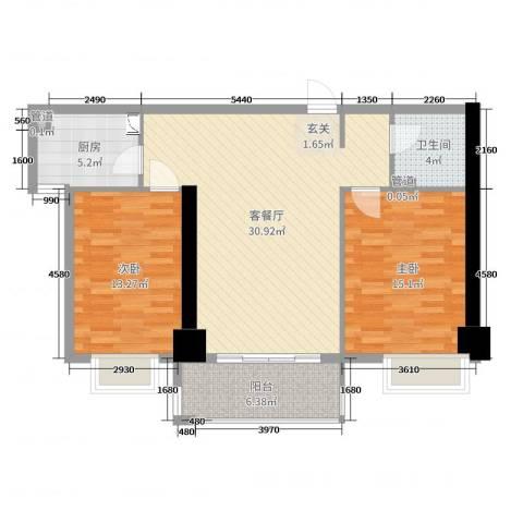 兴庆宫2室2厅1卫1厨94.00㎡户型图