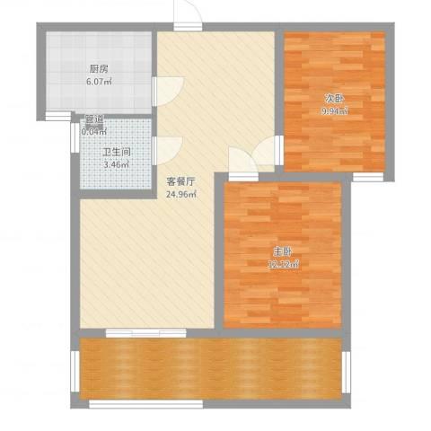 中央花城2室2厅1卫1厨85.00㎡户型图