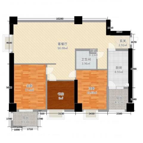 兴庆宫3室2厅1卫1厨140.00㎡户型图