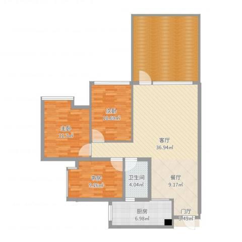 中玮海润广场3室1厅1卫1厨125.00㎡户型图