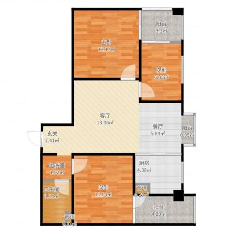 嘉来涪滨印象3室2厅1卫1厨95.00㎡户型图
