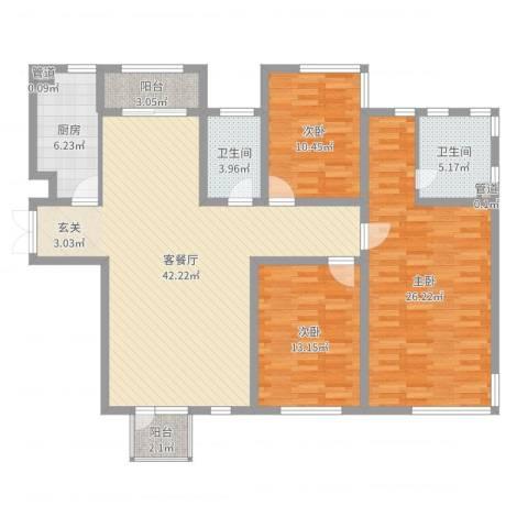 城市水岸别墅3室2厅2卫1厨112.74㎡户型图
