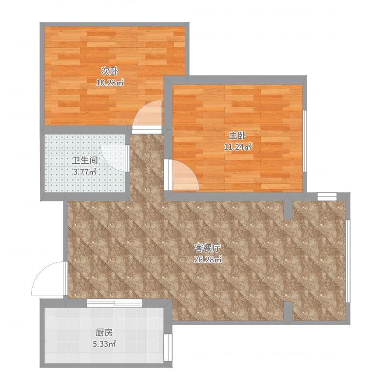 天津-融科瀚棠-82㎡两室两厅一厨一卫-YSK019