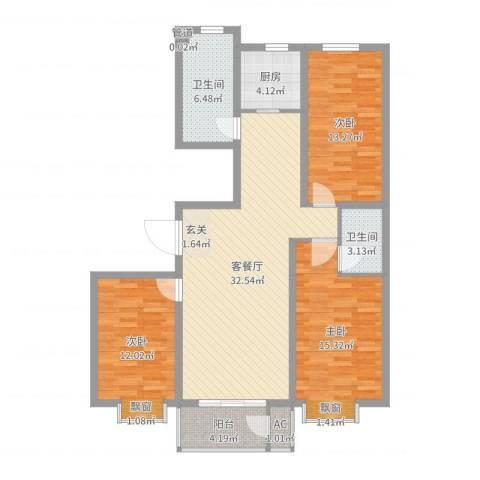 永强苑3室2厅2卫1厨115.00㎡户型图