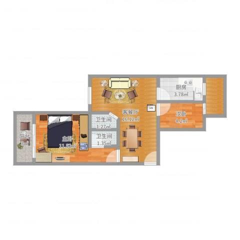 白云雅苑2室2厅2卫1厨55.00㎡户型图