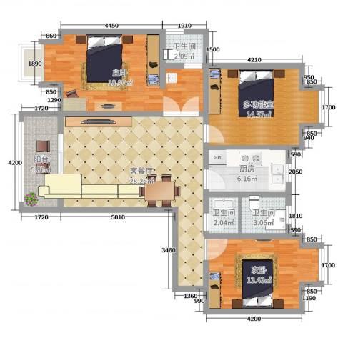 金筑家园2室2厅3卫1厨118.00㎡户型图