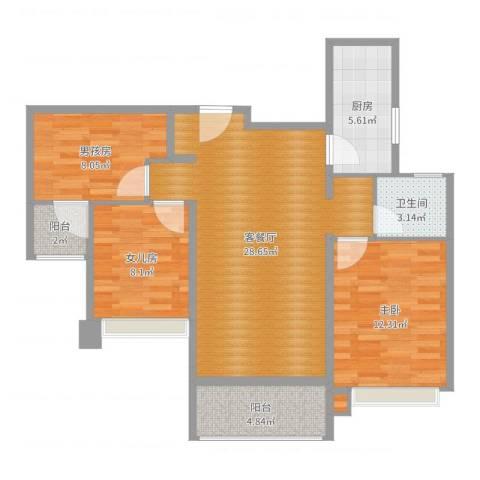 中海名钻1室2厅1卫1厨91.00㎡户型图