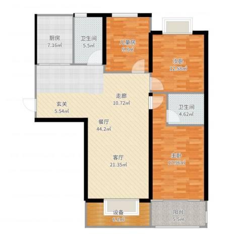 高教公寓3室1厅2卫1厨113.52㎡户型图