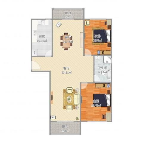 慧芝湖花园2室1厅1卫1厨136.00㎡户型图