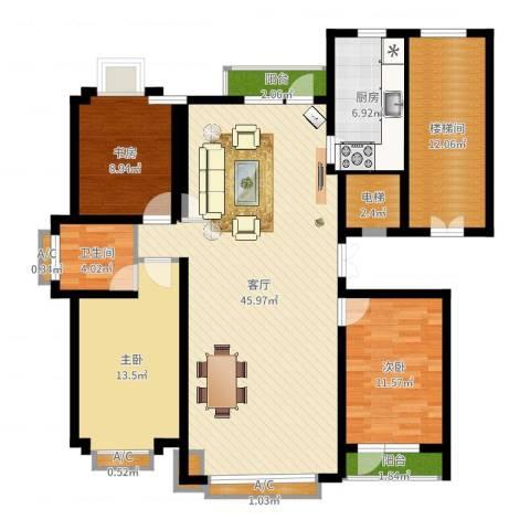 四季花城3室1厅1卫1厨139.00㎡户型图