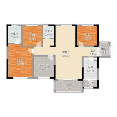 振业城3室2厅2卫1厨138.00㎡户型图