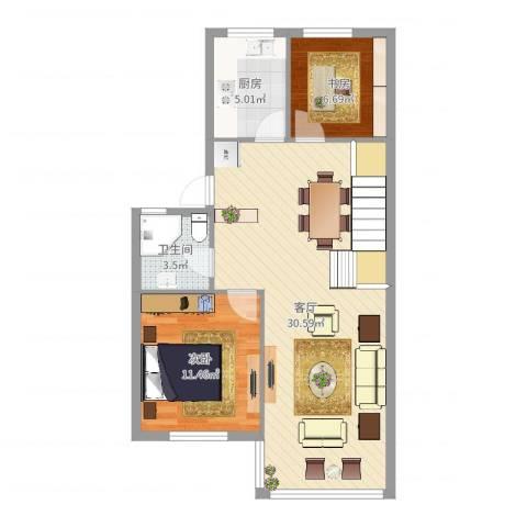 福明家园2室1厅1卫1厨76.00㎡户型图