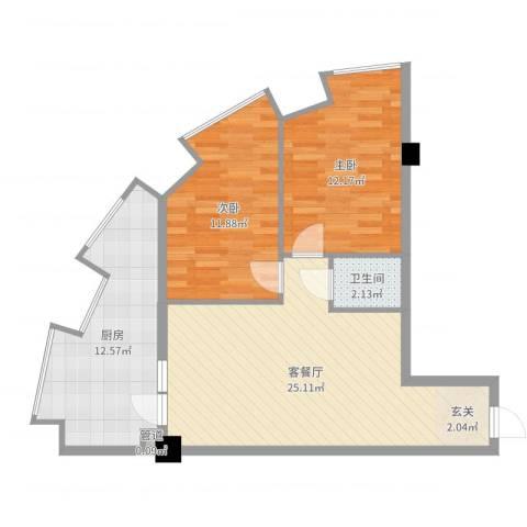 湖里大唐世家2室2厅1卫1厨80.00㎡户型图