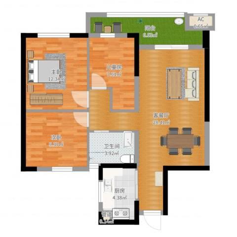 万泰时代城3室2厅1卫1厨92.00㎡户型图