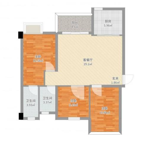 中骏蓝湾悦庭3室2厅2卫1厨98.00㎡户型图