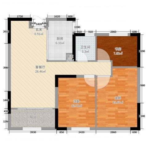 中建新悦城3室2厅1卫1厨100.00㎡户型图