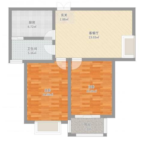 润洋壹品2室2厅1卫1厨84.00㎡户型图