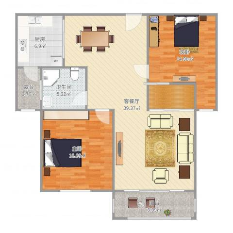 南湖家园2室2厅1卫1厨119.00㎡户型图