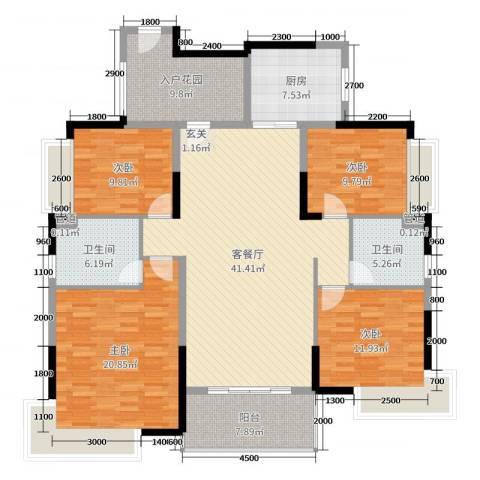 望龙轩4室2厅2卫1厨161.00㎡户型图