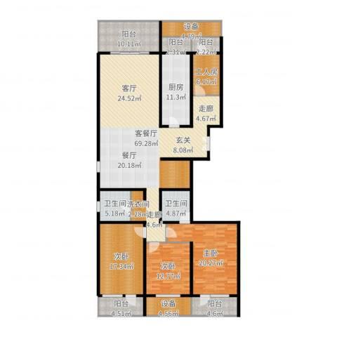 中华家园3室2厅5卫1厨225.00㎡户型图