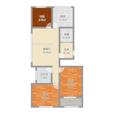 金马怡园3室2厅1卫1厨114.00㎡户型图