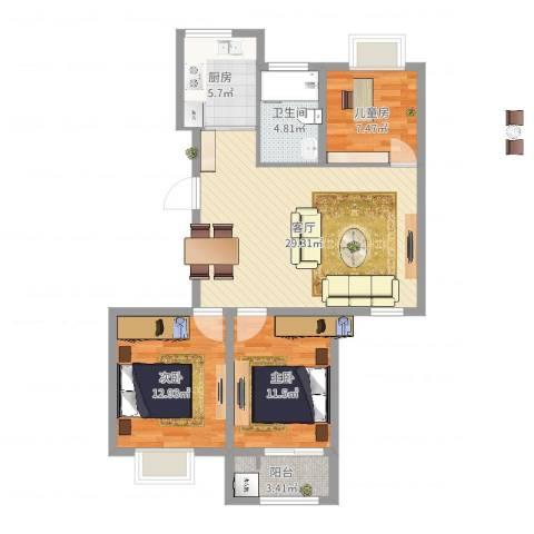 惊驾名庭3室1厅1卫1厨94.00㎡户型图