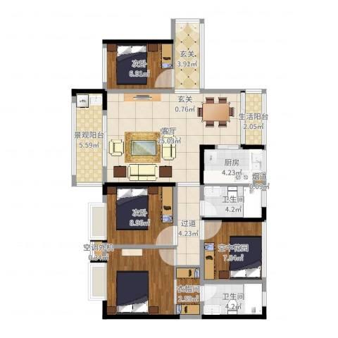 金汇上元2室1厅2卫1厨112.00㎡户型图