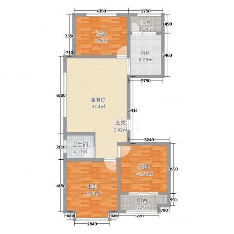 金马怡园3室2厅1卫1厨122.00㎡户型图