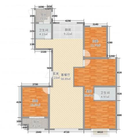金马怡园3室2厅2卫0厨172.00㎡户型图