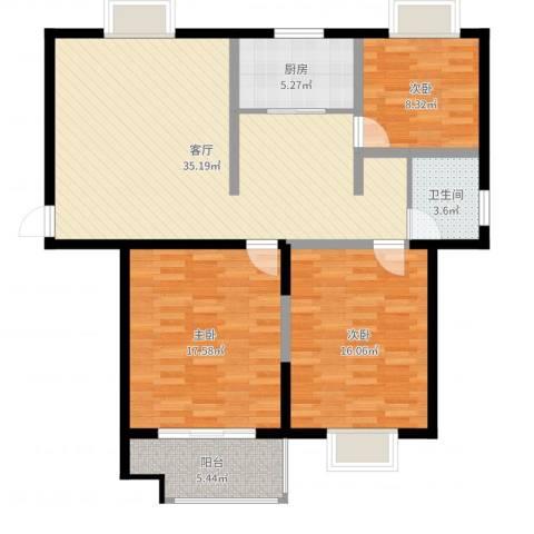 奥林・晴园3室1厅1卫1厨91.46㎡户型图