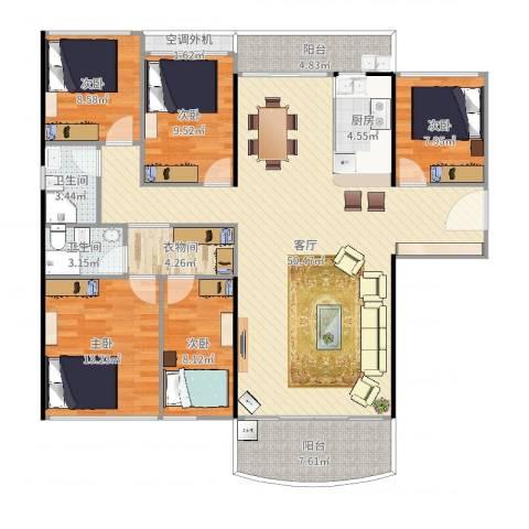 凯旋豪庭5室1厅2卫1厨159.00㎡户型图
